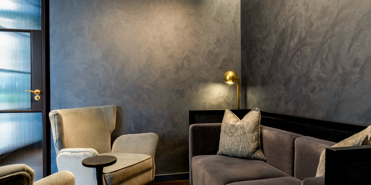 Armourcoat decorative wall finish on display in White & Co waiting area