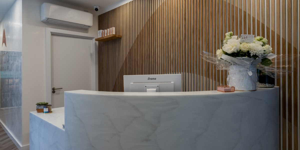 Bespoke marble reception desk at Ambra Aesthetic Clinic