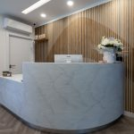 Bespoke marble effect reception desk at Ambra Aesthetic Clinic
