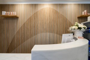 Wooden feature wall at Ambra Aesthetic Clinic